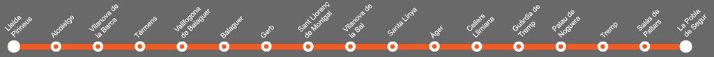 Paradas de la línea Lleida - La Pobla de Segur rutas Barcelona